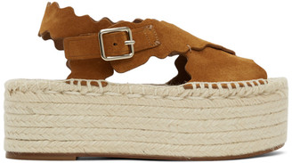 Chloé Tan Suede Espadrilles Platform Sandals