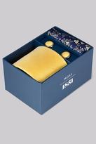 Moss Bros Gold & Blue Tie, Pocket Square & Cufflink Gift Set