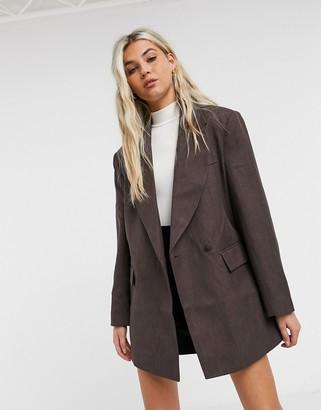 ASOS DESIGN asymmetric detail oversized dad blazer in brown