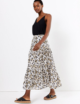 Marks and Spencer Pure Cotton Floral Tiered Maxi Skirt