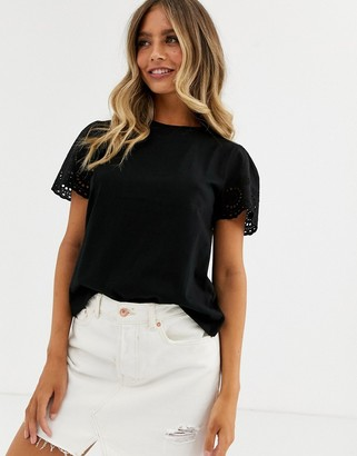 Asos DESIGN t-shirt with broderie sleeve in black