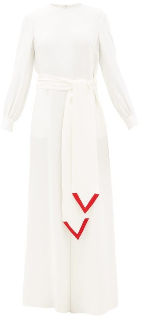 Valentino V-trim Silk-cady Jumpsuit - Red White