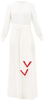 Valentino V-trim Silk-cady Jumpsuit - Womens - Red White