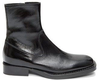 Ann Demeulemeester Crackled Patent-leather Ankle Boots - Womens - Black