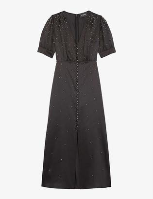 The Kooples Silver-tone stud-detail satin midi dress