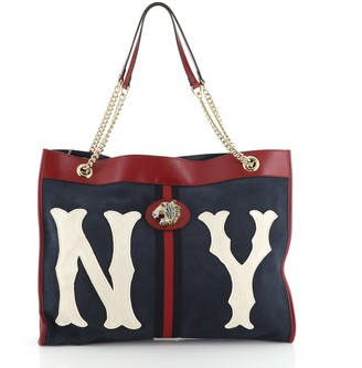 Gucci Rajah Chain Tote Suede with Applique Large