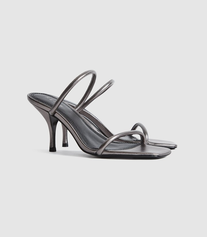 Thumbnail for your product : Reiss Magda - Leather Strappy Heeled Sandals in Gunmetal