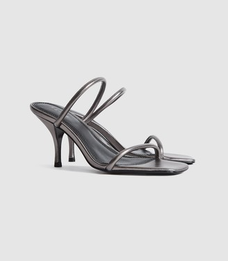 Reiss Magda - Leather Strappy Heeled Sandals in Gunmetal