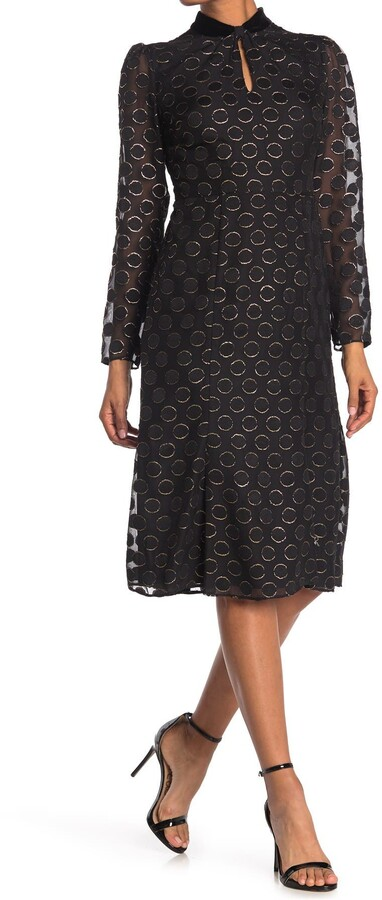 Donna Morgan Metallic Dot Long Sleeve Dress