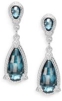 Judith Ripka Fontaine London Blue Spinel & White Sapphire Pear Drop Earrings