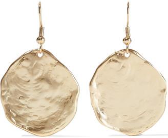Kenneth Jay Lane Hammered 22-karat Gold-plated Earrings