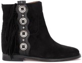 Via Roma 15 Ankle Boot In Black Suede With Fringe And Side Silver Metal Buttons