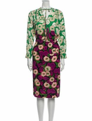 Dries Van Noten Printed Midi Length Dress Green