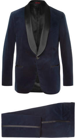 Brunello Cucinelli Midnight-Blue Satin-Trimmed Cotton-Velvet Tuxedo Jacket