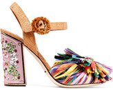 Dolce & Gabbana Crystal-embellished Raffia Sandals - IT36