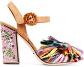 Dolce & Gabbana Crystal-embellished Raffia Sandals - Pink