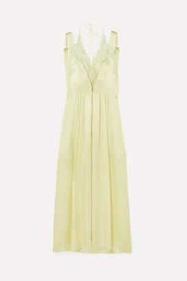 Stella McCartney Lace-trimmed Silk-satin Midi Dress - Chartreuse