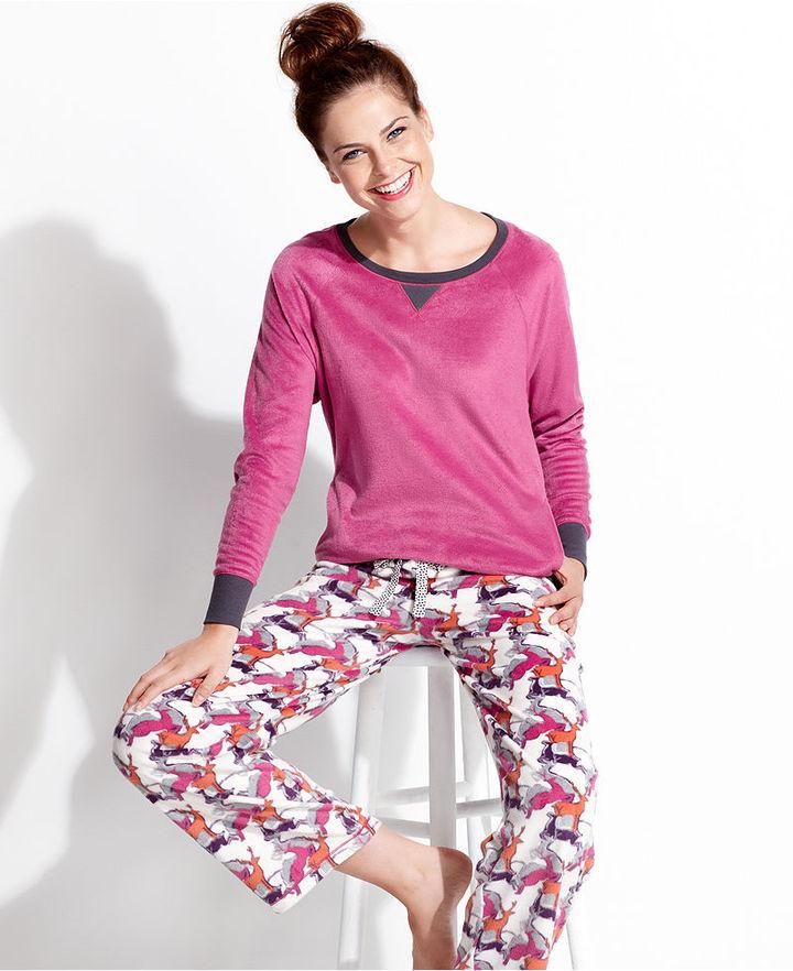 Cuddl Duds Pajamas, Ivory Top and Pajama Pants