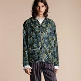 Burberry Peony Rose Silk Twill Pyjama-style Shirt , Size: Xl, Green