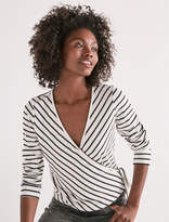 Lucky Brand Stripe Wrap Long Sleeve Top