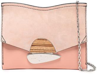 Proenza Schouler Suede-paneled Appliqued Textured-leather Shoulder Bag