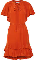 Zimmermann Flutter Smock Ruffled Silk Crepe De Chine Mini Dress - Bright orange