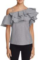 Aqua One-Shoulder Ruffled Striped Top - 100% Exclusive