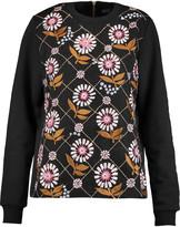 Markus Lupfer Daisy embellished cotton-blend jersey and silk-organza sweatshirt