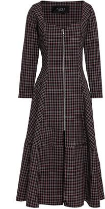 Paper London Lotus Checked Wool-blend Midi Dress