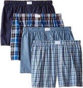 Tommy Hilfiger Men's 4 Pack Blue Plaid and Stripes Woven Boxers