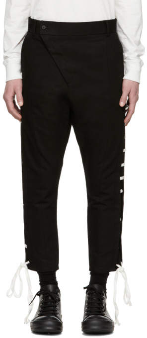 D.gnak By Kang.d Black Straight Lace-Up Trousers