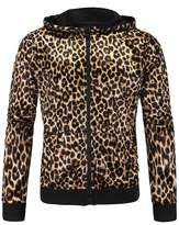 Allonly Men's Long Sleeve Casual Zip Jacket Fashion Leopard Hoodie Autumn Outwear