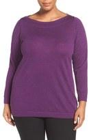 Eileen Fisher Bateau Neck Fine Merino Jersey Top (Plus Size)
