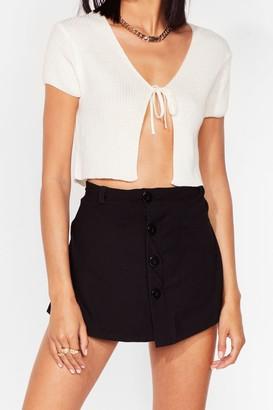 Nasty Gal Womens Just Wait a Mini Button-Down Skort Shorts - Black - 6