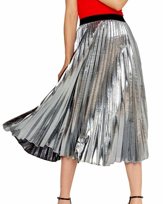 Shengwan Women's Elastic Waist Pleated Midi Long Skirt Dress High Waist Beach Skirts Silver S