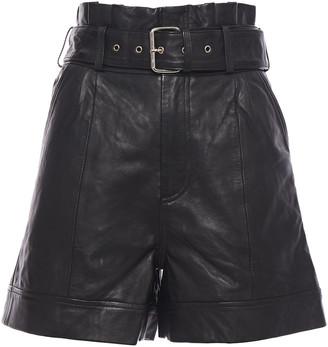 Walter Baker Belted Leather Shorts