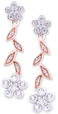 Wrapped in Love Diamond Flower Drop Earrings (1/4 ct. t.w.) in 14k Rose & White Gold, Created for Macy's