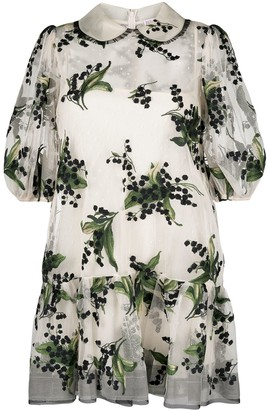 RED Valentino Floral-Embroidered Short-Sleeve Dress