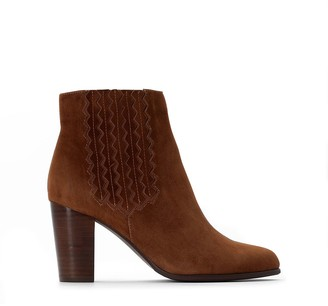 La Redoute Collections Suede Western Ankle Boots with High Heel and Stitching Detail