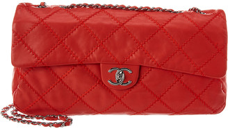 Chanel Red Quilted Wild Stitch Leather Maxi Flap Bag