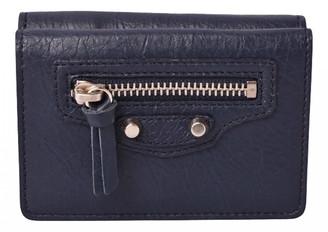 Balenciaga Navy Leather Wallets