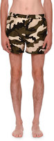 Valentino Camouflage Short Swim Trunks, Green/Black/White