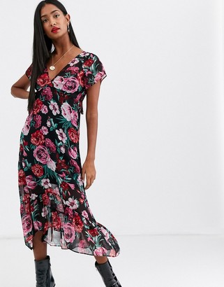 Stradivarius midi dress in roses print