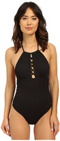 Shoshanna Embossed Rhombus Front Lattice Maillot One-Piece