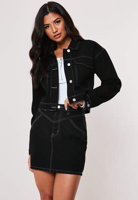Missguided Black Co Ord Contrast Stitch Denim Jacket