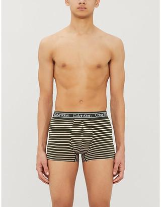 Calvin Klein Logo-print striped stretch-cotton boxer shorts