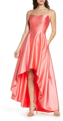 Xscape Evenings Double Strap High/Low Satin Ballgown
