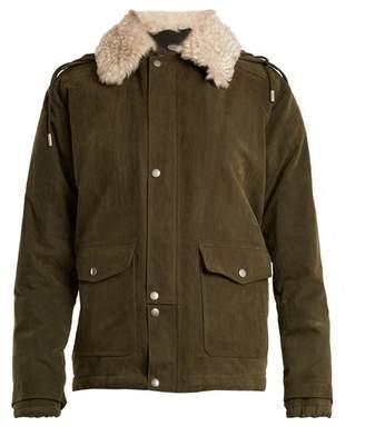 Saint Laurent Shearling Collar Cotton Blend Gabardine Parka - Womens - Khaki
