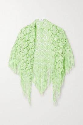 Miguelina Kiana Fringed Crocheted Cotton Shawl - Green