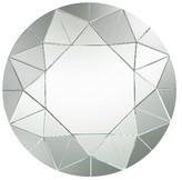 Lazy Susan Round Geometric Mosaic Decorative Wall Mirror Silver